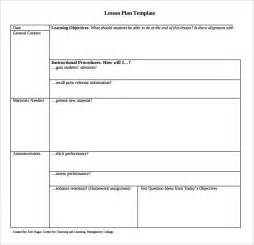 Lesson Plan Template by Sle Printable Lesson Plan 8 Exles Format