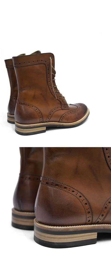 Cowhide Leather Shoes - premium custom mens gradation tanned brown wingtip cowhide