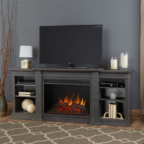 Real Flame Eliot Grand 81 in. Entertainment Center Electric Fireplace in Antique Gray 1290E AGR