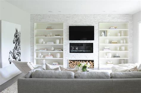 built in shelves flanking television design ideas gray ottoman coffee table images photo round upholstered