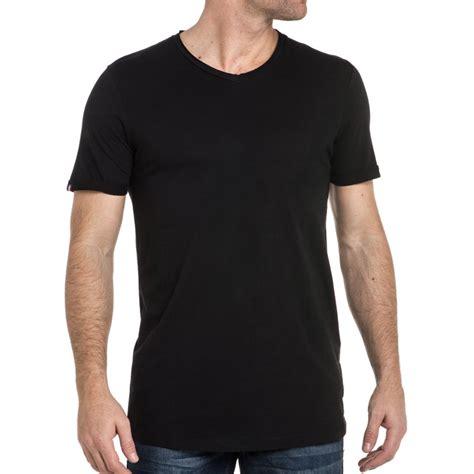 Tshirt Kaos Jones and jones t shirt noir uni col v blz