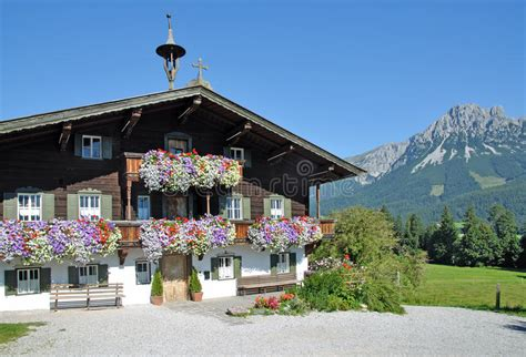 small traditional house design in tirol austria wooden tyrolean house ellmau tirol austria stock photo