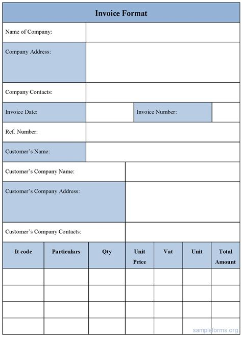 invoice template form sle forms