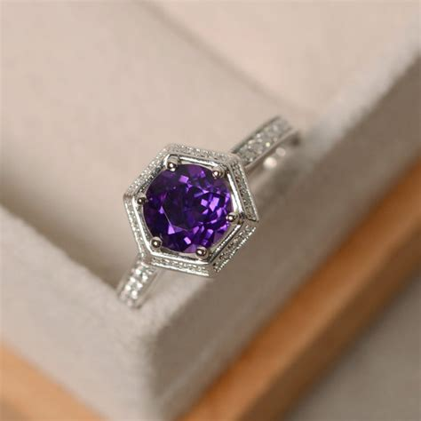 amethyst engagement ring wedding ring purple gemstone