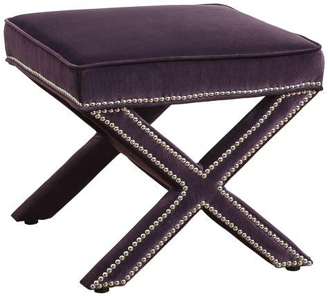 Purple Ottoman by Reese Purple Velvet Ottoman From Tov Tov O17 Purple