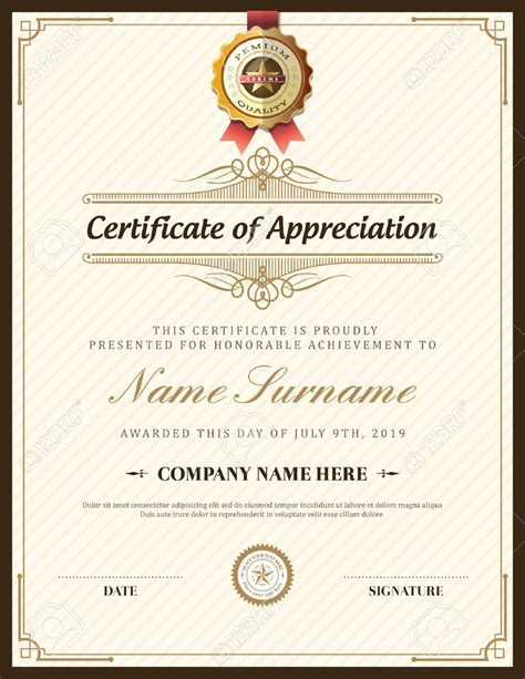 cer van layout certificate of appreciation template doc gallery
