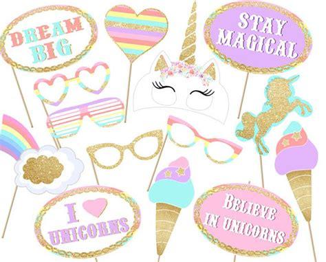 Printable Unicorn Photo Booth Props | unicorn party photo booth props printable instant download