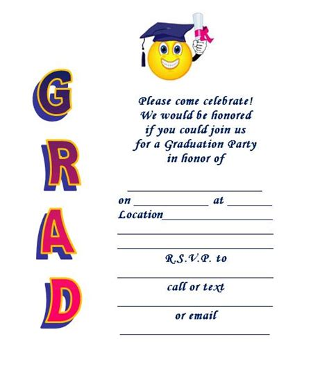printable templates for graduation invitations printable graduation invite smiley grad