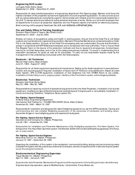 Hotel Chief Engineer Cover Letter by Cover Letter For Hotel Engineer