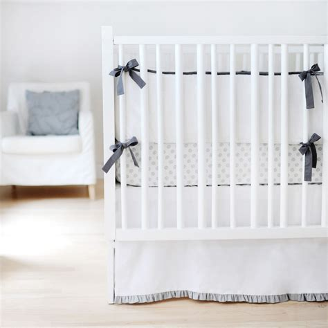 Gray And White Crib Bedding Set by Sweet And Simple Crib Bedding Set In White With Gray Ruffle