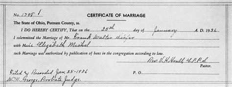 Putnam County Ohio Marriage Records Genealogy Data Page 203 Notes Pages