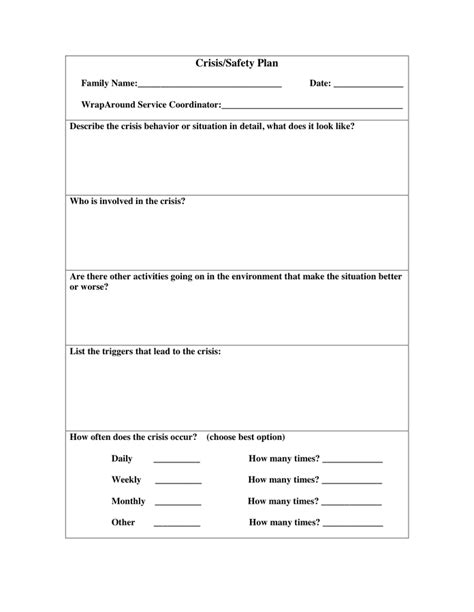 mental health crisis management plan template printables safety plan worksheet followersblast