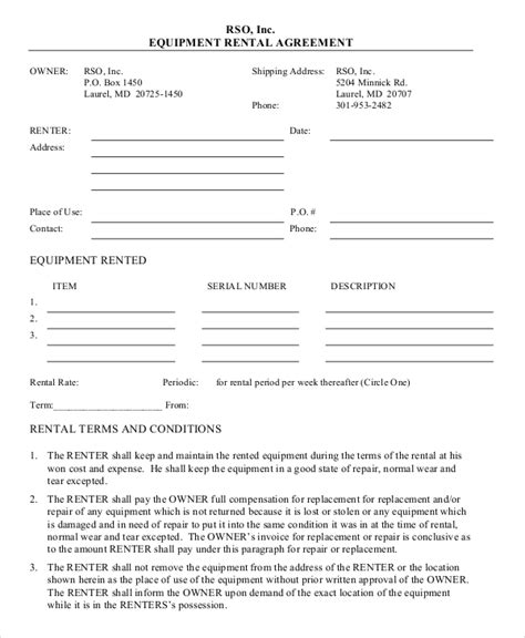blank rental agreement template equipment rental agreement templates free