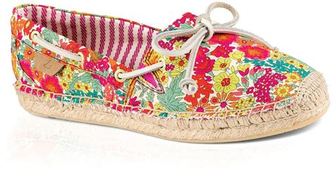 pink patterned espadrilles sperry top sider lace up espadrille flats liberty in