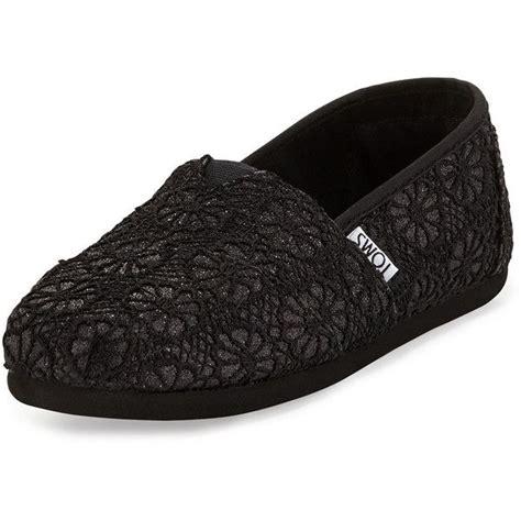 toms classic black glitter flat shoes toms classic glitter crochet slip on 52 liked on