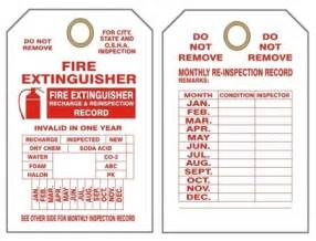 Extinguisher Inspection Tag Template by Extinguisher Inspection Tags Printable Security Sistems