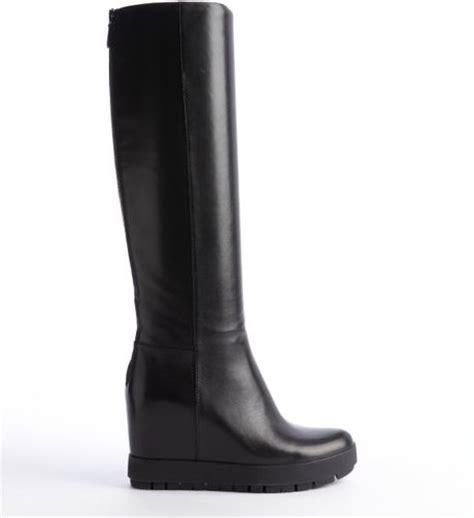 prada leather wedge heel boots in black lyst