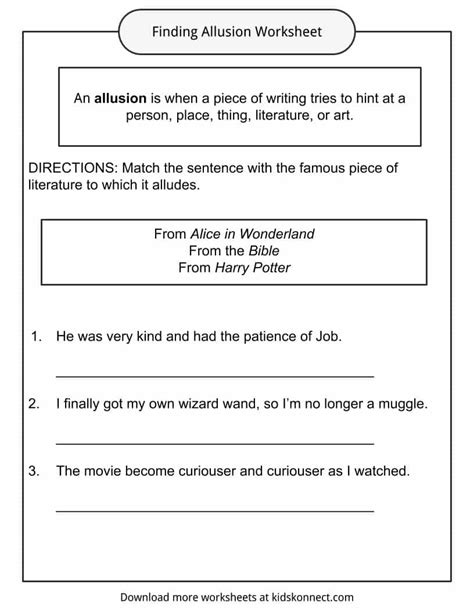 Allusion Worksheets by Allusion Worksheet Wiildcreative