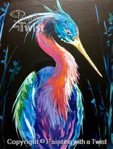paint with a twist pinellas park neon heron closeup tx lakeway painting class