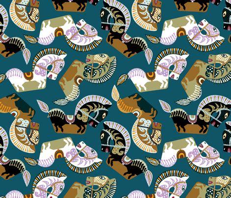 Sho Kuda Blue kuda kepang javanese horses fabric ravenous spoonflower