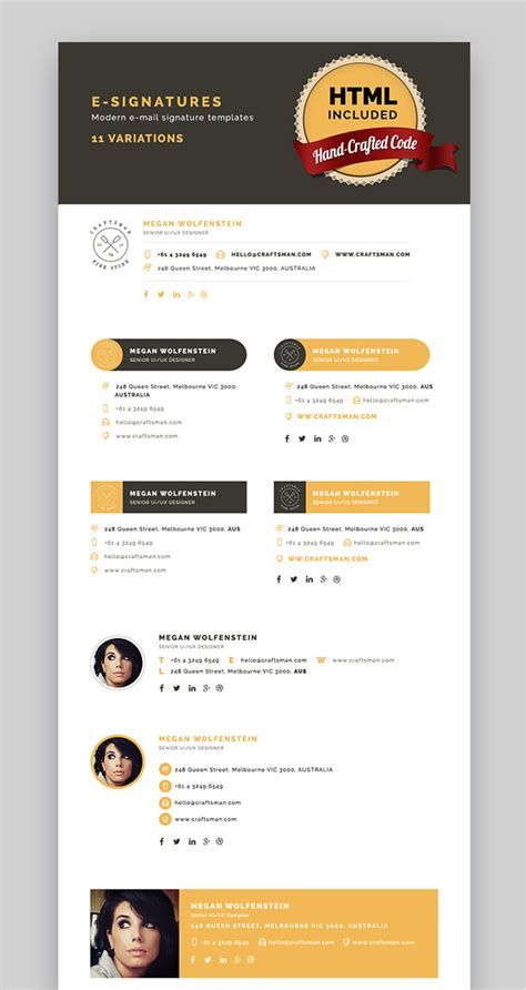 How To Add A Professional Outlook Email Signature Quickly Modern Email Signature Templates