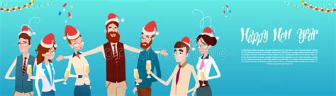 new year celebration in office businesspeople celebrate merry and happy new
