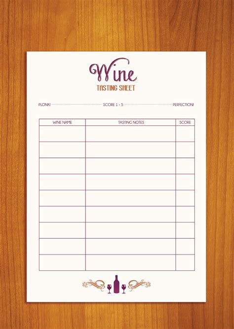 wine tasting template cards wine tasting sheet pdf digital