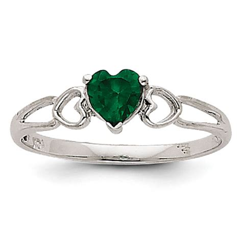 14k white gold emerald birthstone ring shop our