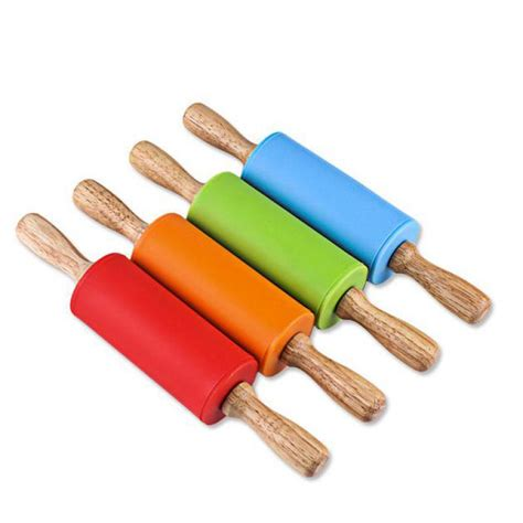 Silicone Rolling Pin Penggiling Adonan non stick silicone rolling pin wood grip fondant pastry dough roller stick for baking tools