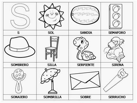 imagenes que empiecen con la letra s para colorear aprendemos con todos y de todos la letra s
