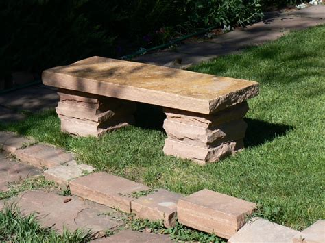 stacked stone bench custom built furniture