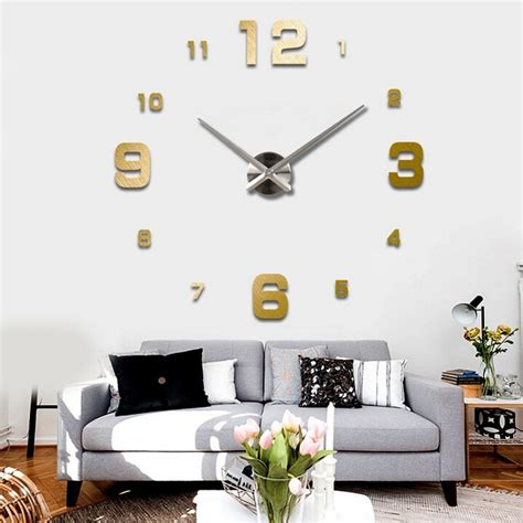 Jam Dinding Acrylic Mirror diy wall clock 80 130cm diameter elet00660 jam dinding black jakartanotebook