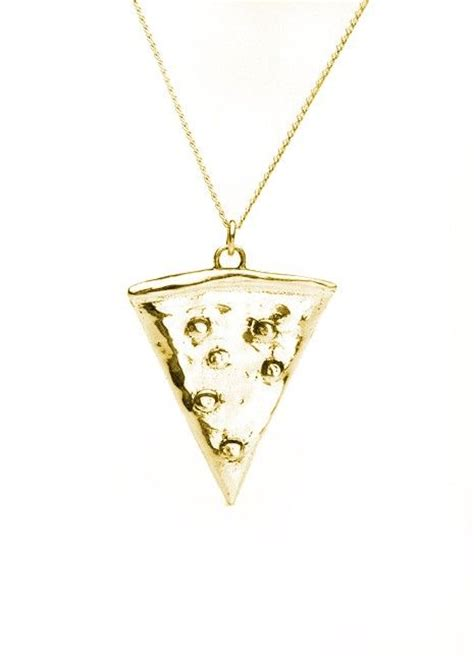 pizza pendant necklace in brass