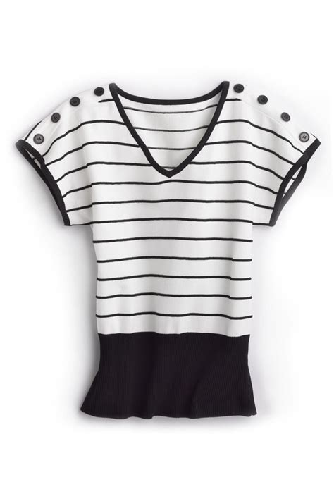 black and white striped ottoman striped ottoman knit top 38 style ec82040 color black