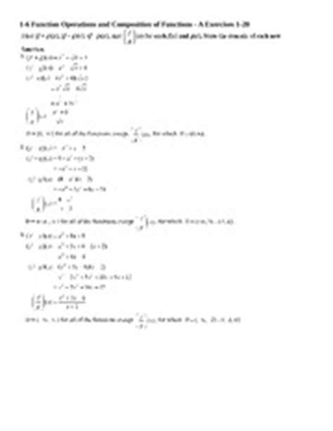 Function Operations Worksheet Answers by Chapter 2 Review Worksheet Answers