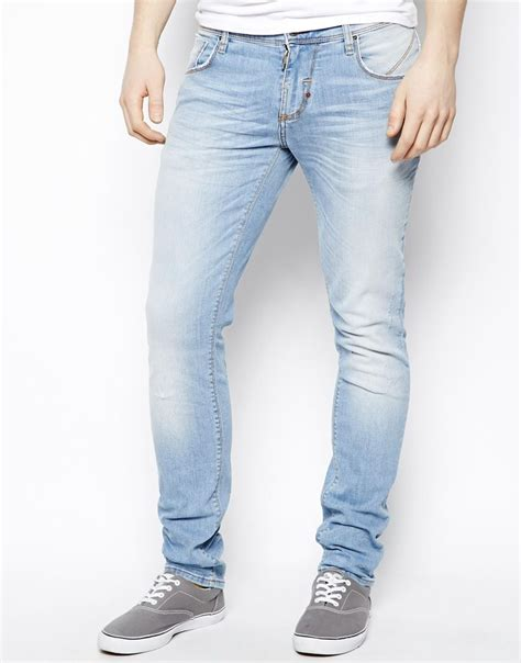 skinny fit jeans in light wash light blue jeans and man shop