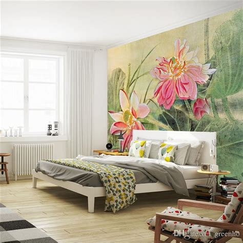 3d wall painting for your bedroom vintage lotus painting photo wallpaper 3d flower wall