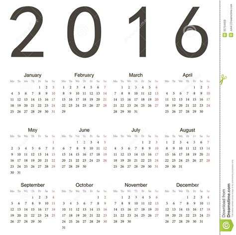 Calendar What Week Of The Year Is It Simple European Square Calendar 2016 Royalty Free Stock