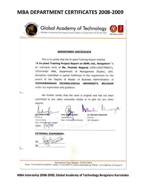 Mba Program Certifications by Global Academy Of Technology Mba Department Certificates