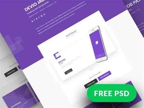 Freebies Devio One Page Portfolio Template By Claudio Fresta Dribbble Ui Designer Portfolio Templates