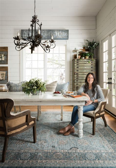 ella rose light blue rug home dining room farmhouse dining room table magnolia home rugs