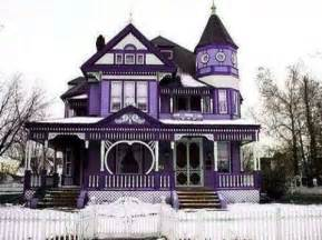 purple home beautiful house architectural