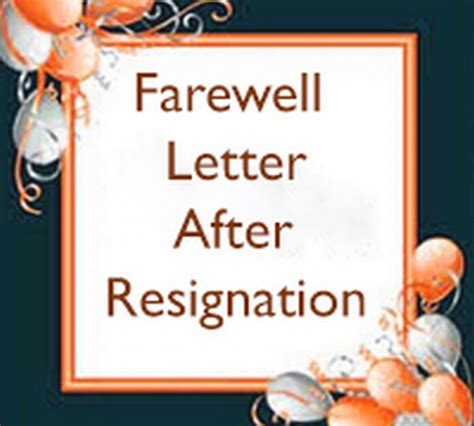 Farewell Letter After Resignation by Farewell Letter After Resignation