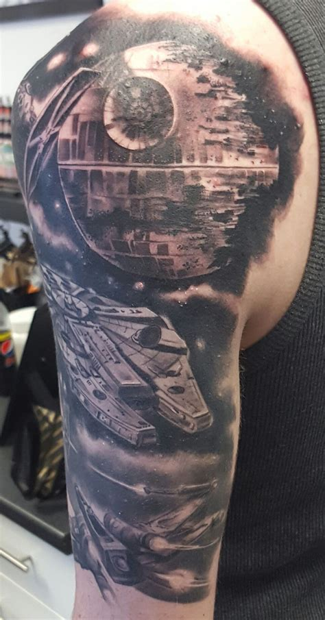 half sleeve star tattoos wars half sleeve by scribble ink loughton uk