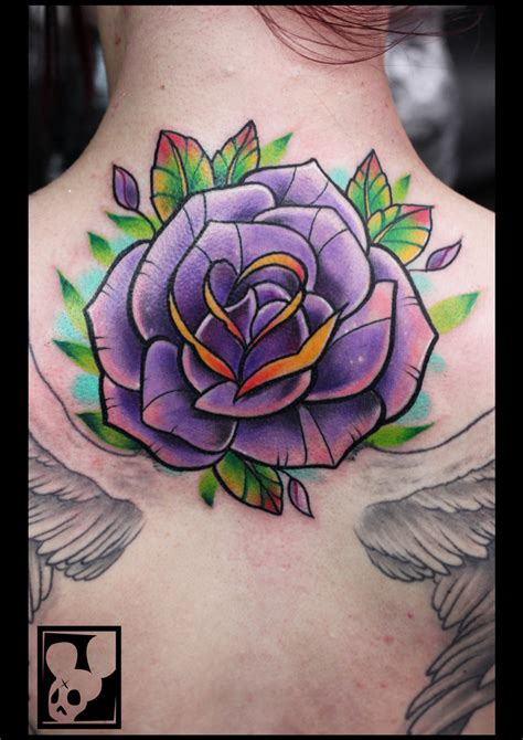 violet and rose tattoo awesome purple on neck by huber