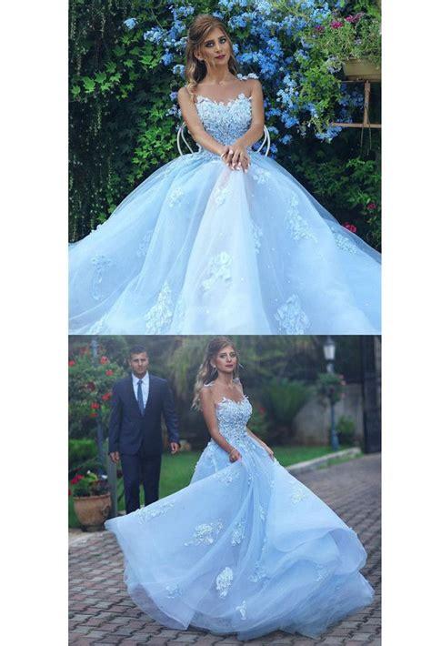 light blue lace appliques ball gown prom dressprincess