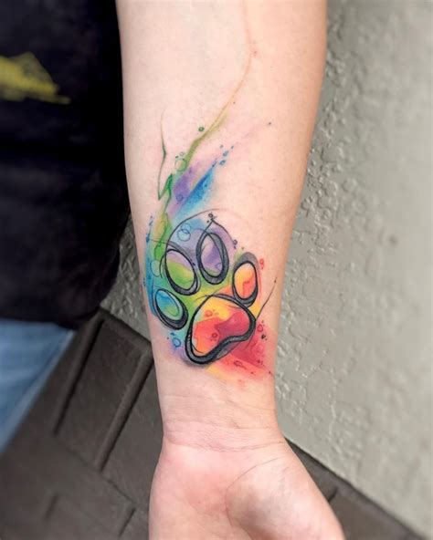watercolor tattoo paw image result for rainbow paw print tatts