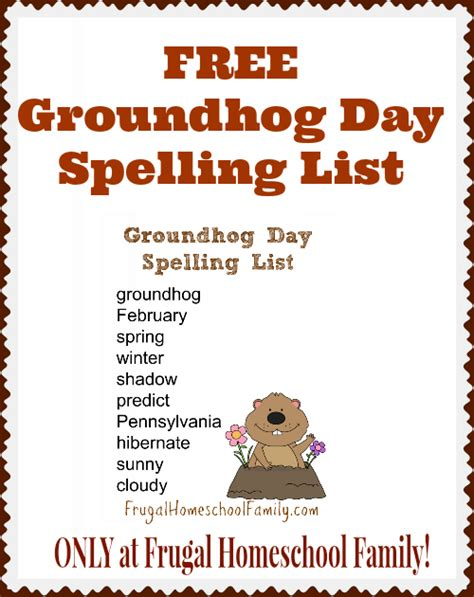 groundhog day name free groundhog day spelling list