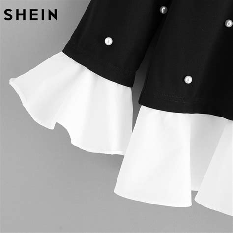 Contrast Trim Collar Top shein contrast frill trim pearl embellished top black and