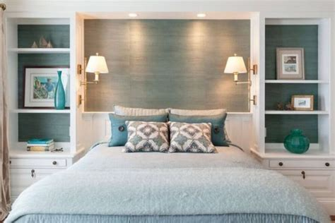 24 clever and comfy bedroom picture of transparent shelving units behind the headboard